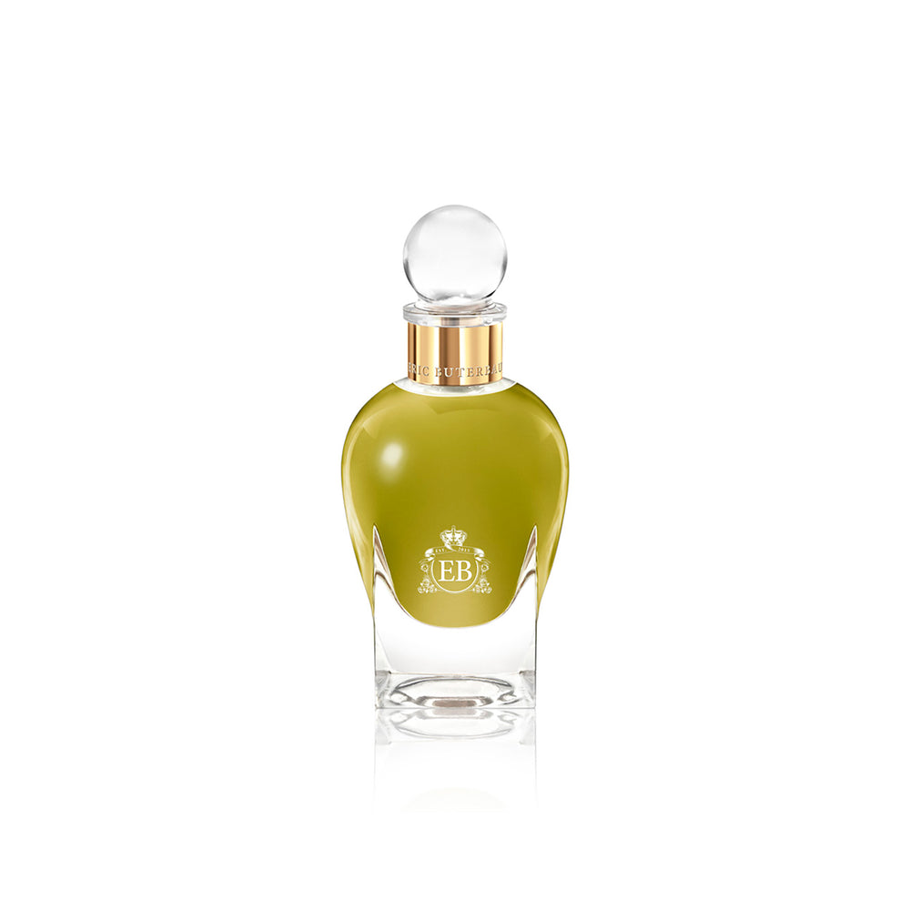 100 ml bottle, with transparent glass and greenish perfum. Spherical cap with gold band. Apollo Hyacinth, a fragrance by Eric Butherbaugh.