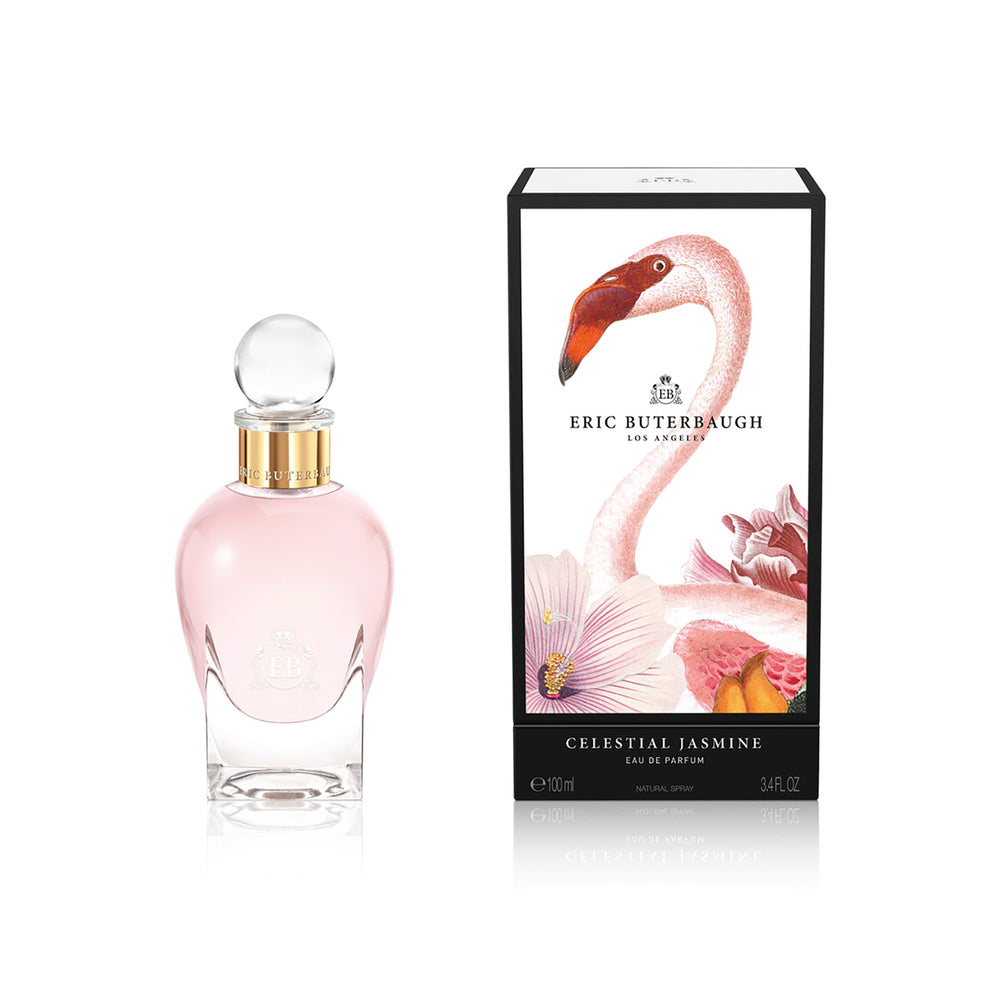 100 ml bottle, with transparent glass and pinkish perfum. Spherical cap with gold band. By his side the box, with pink flamingo and flowers illustration, within a black border. Celestial Jasmine, a fragrance by Eric Butherbaugh.