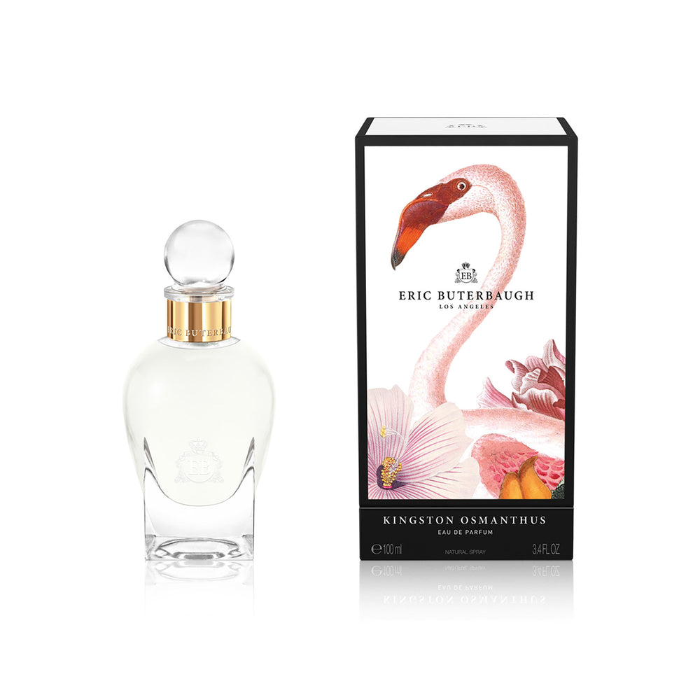 100 ml bottle, with transparent glass and yellowish perfum. Spherical cap with gold band. By his side the box, with pink flamingo and flowers illustration, within a black border. Kingston Osmanthus, a fragrance by Eric Butherbaugh.