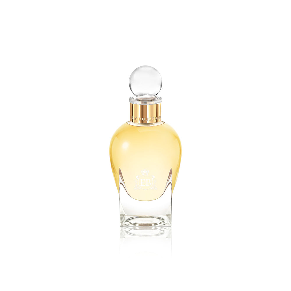 100 ml bottle, with transparent glass and yellowish perfum. Spherical cap with gold band. Nick´s Sunflower, a fragrance by Eric Butherbaugh.