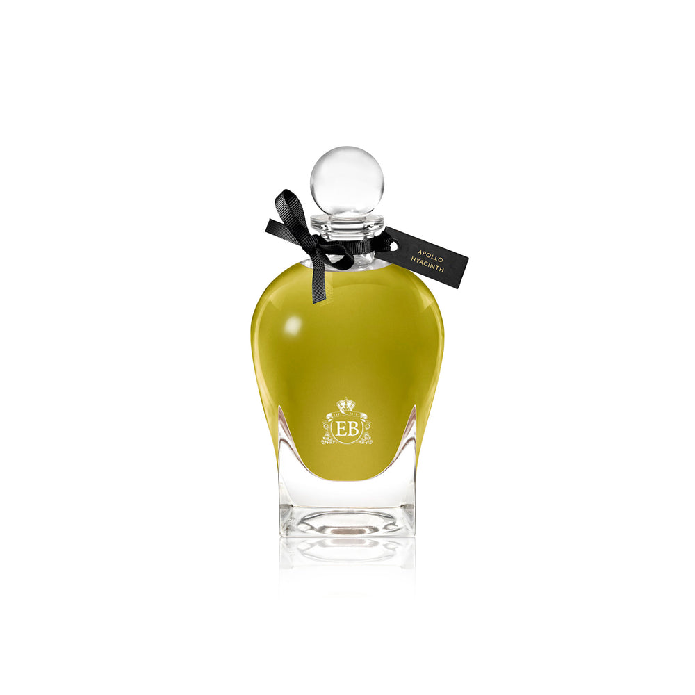 250 ml bottle, with transparent glass and greenish perfum. Spherical cap with black ribbon. Apollo Hyacinth, a fragrance by Eric Butherbaugh.