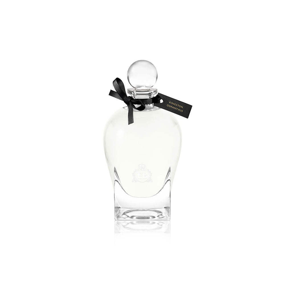 250 ml bottle, with transparent glass and yellowish perfum. Spherical cap with black ribbon. Kingston Osmanthus, a fragrance by Eric Butherbaugh.