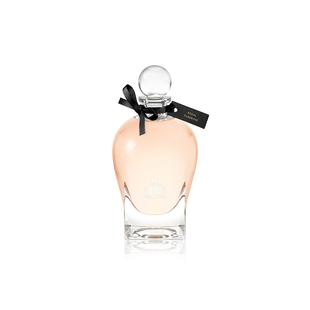 250 ml bottle, with transparent glass and orangey perfum. Spherical cap with black ribbon. Regal Tuberose, a fragrance by Eric Butherbaugh.