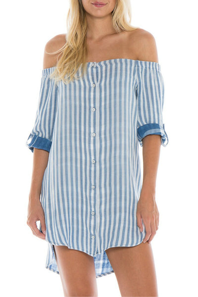 Off Shoulder Dress in Marina Wash - R+D Hipster Emporium | Womens & Mens Clothing - 1