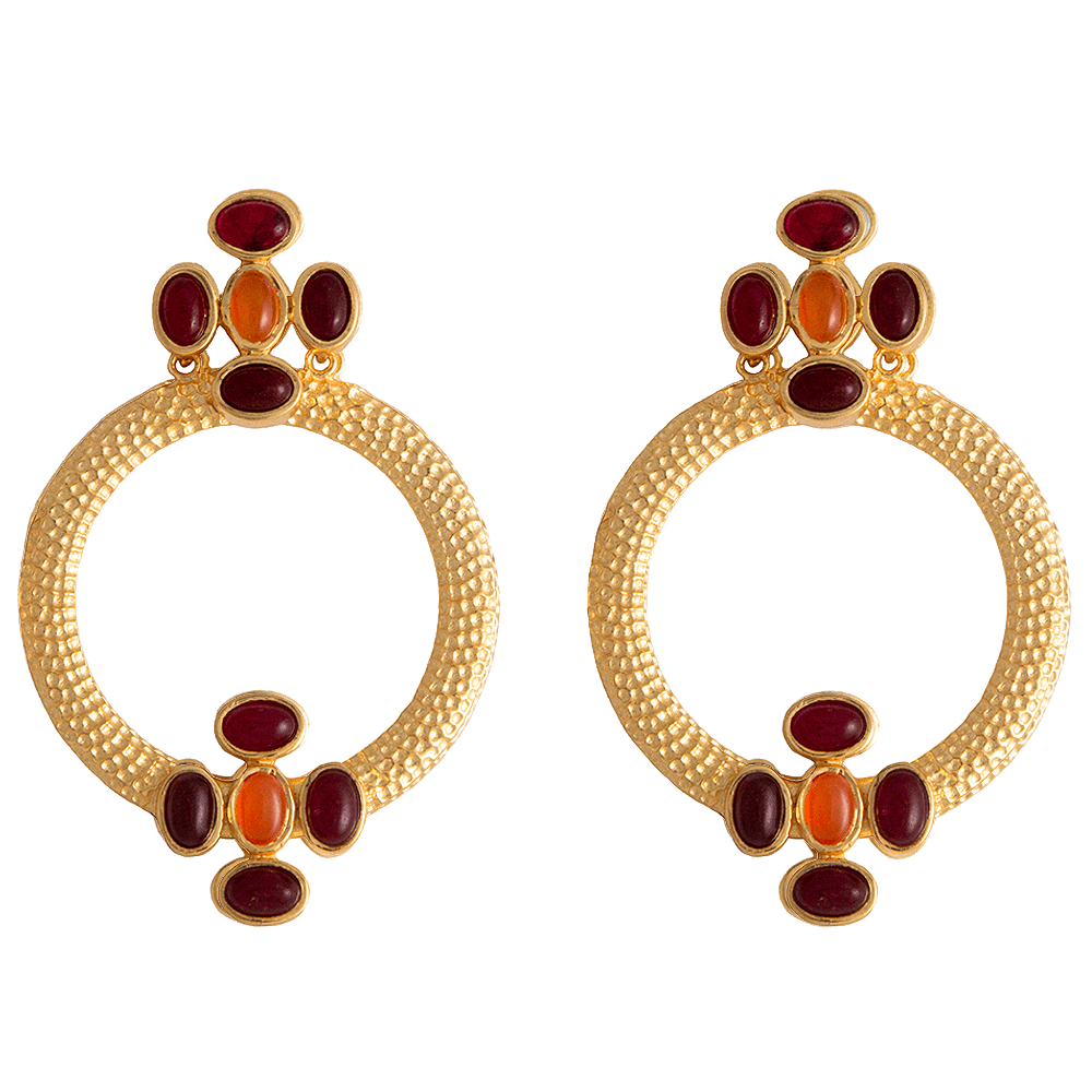 Finished with red gold plated silver. Delaonai earrings with lilac Regalite stone
