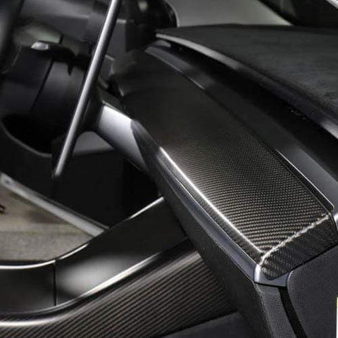 Genuine Carbon Fiber Single Piece Dashboard Cap Trim for Model 3 (Matte) - PimpMyEV