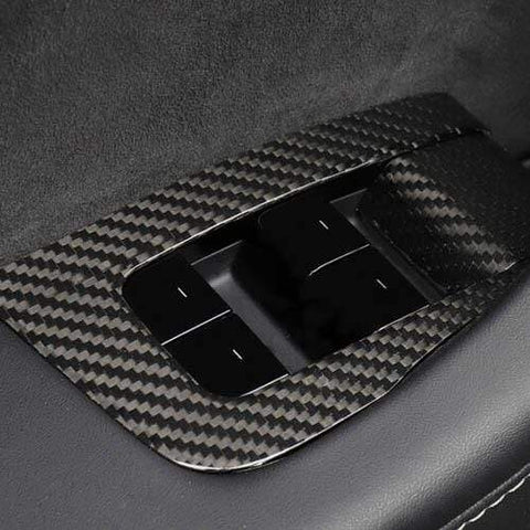 14Pcs Genuine Gloss Carbon Fiber Window & Door Switch Covers for Model 3 (Right Hand Drive) - PimpMyEV