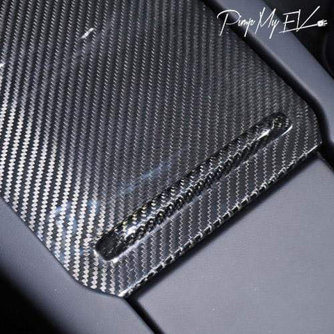 Genuine Carbon Fiber Center Console Slide Cover Trim For Model S (Gloss) - PimpMyEV
