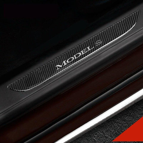 2PCs Carbon Fiber Style Scuff Plates / Door Sill Covers for Model S - PimpMyEV