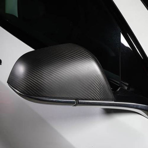 2PCs Genuine Carbon Fiber Style Side Mirror Cover Set for Model 3 (Matte) - PimpMyEV