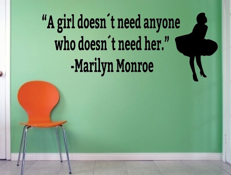 "Marilyn Monroe - ""A girl doesn't need..."""