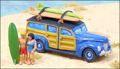 1940s Ford Woody w/Surfers & Surfboards