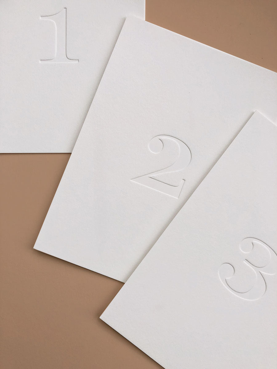 Minimalist Letterpress Table Numbers