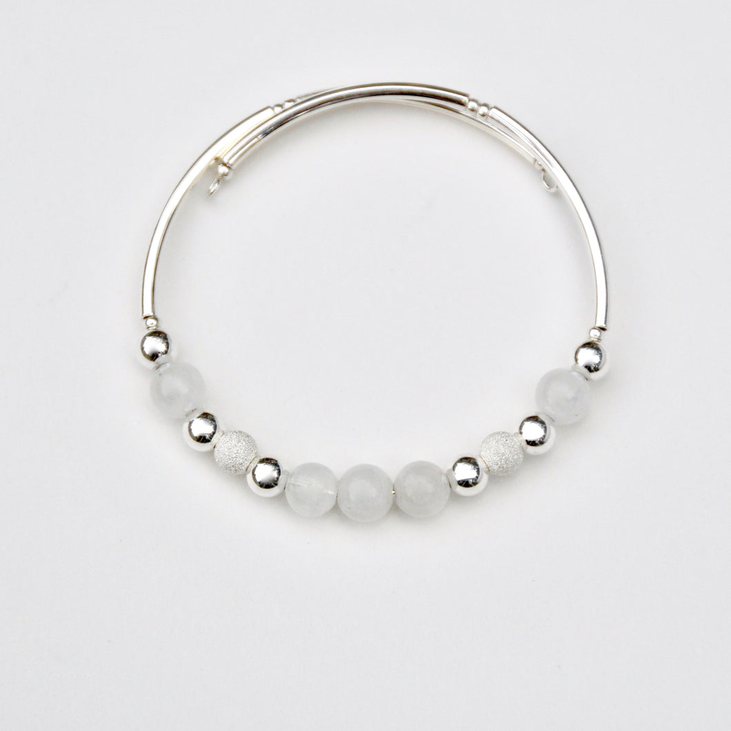 Serenity Stones: Rainbow Moonstone Silver Sparkle Bracelet (Sterling Silver)