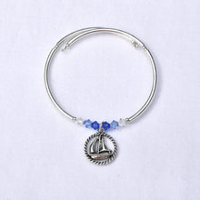 Load image into Gallery viewer, Sailboat in Rope Charm Bracelet