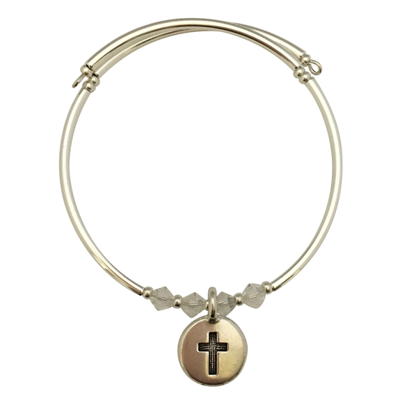 Cross in a Circle Charm Bracelet