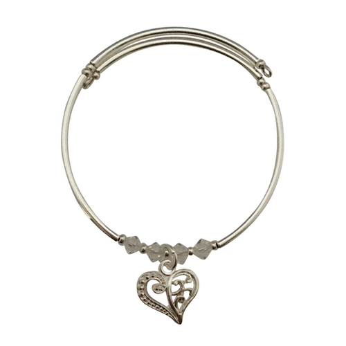 filigree heart charm bracelet