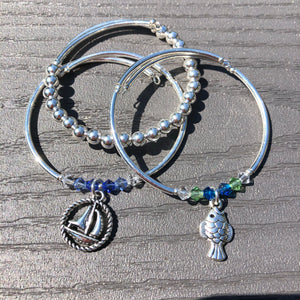 Sterling Silver Beaded Wrap Bracelet