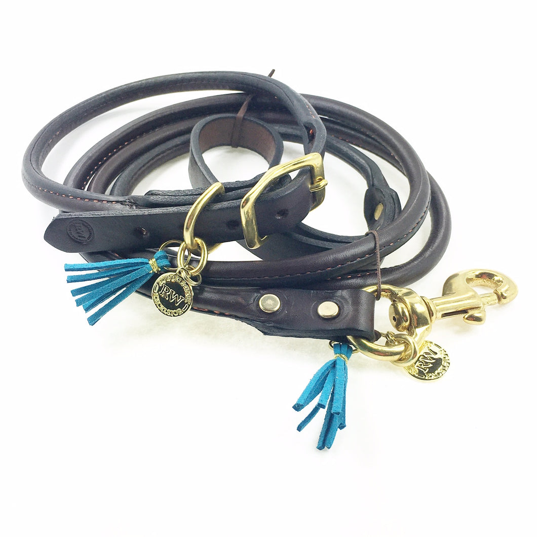 Rolled Leather Dog Collar and Leash Set