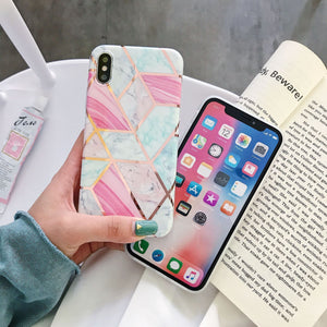 Marble stitching rhombic anti-fall apple phone case