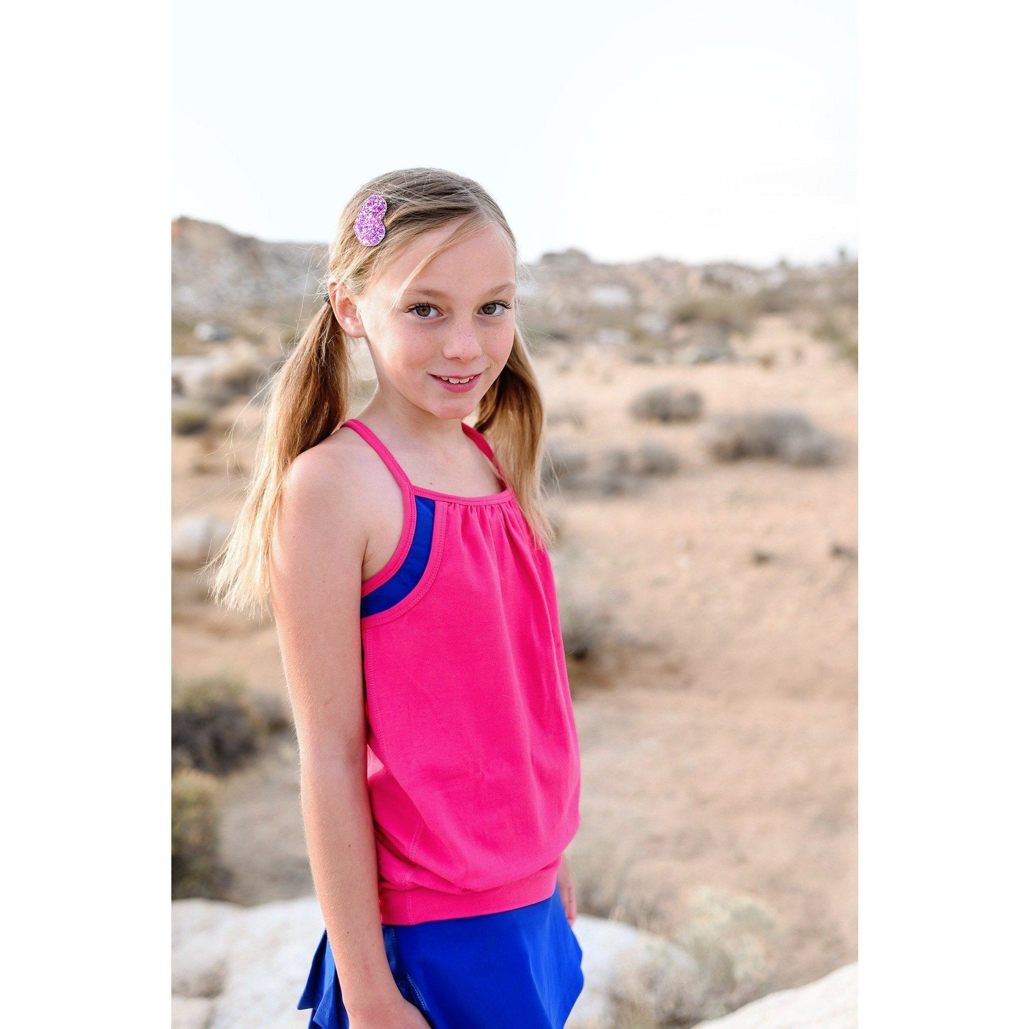 Girls Double Layer Tank - Bright Pink - Adorable Essentials