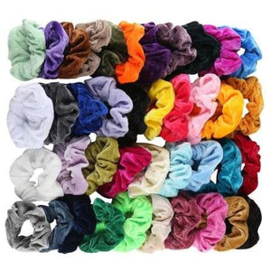 VSCO GIRL - SATIN OR VELVET SCRUNCHIES SET OF 52  OR 60 - Adorable Essentials, LLC