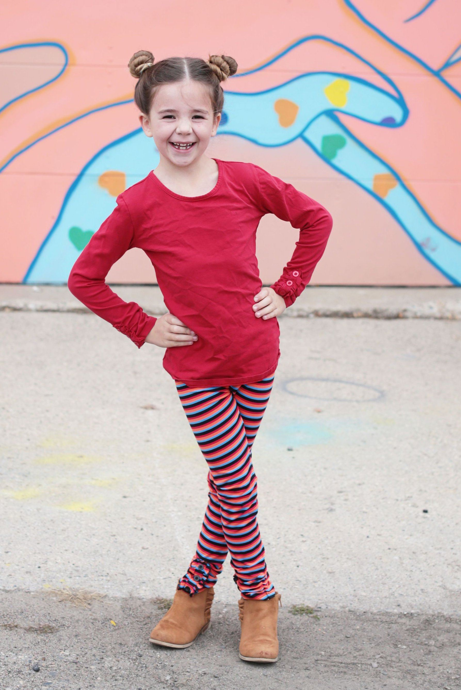 Rainbow Stripes Button Ruffle Pants - Adorable Essentials, LLC