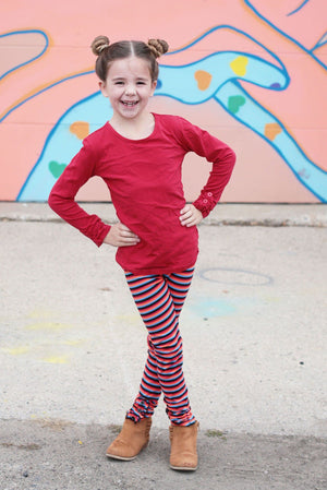 Rainbow Stripes Button Ruffle Pants - Adorable Essentials