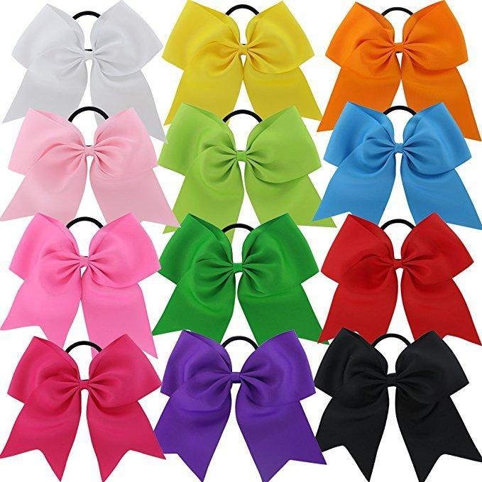 "8"" Cheer Bow Ponytail Pack - 12 different colors - Adorable Essentials"