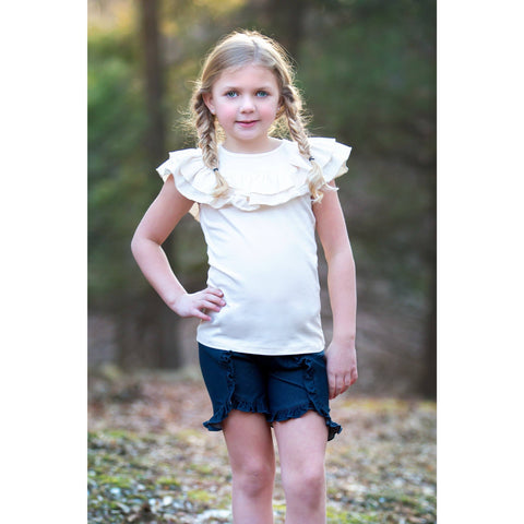 Adorable Essentials, Ruffled Shoulder Tank,Tops,Adorable Essentials, LLC