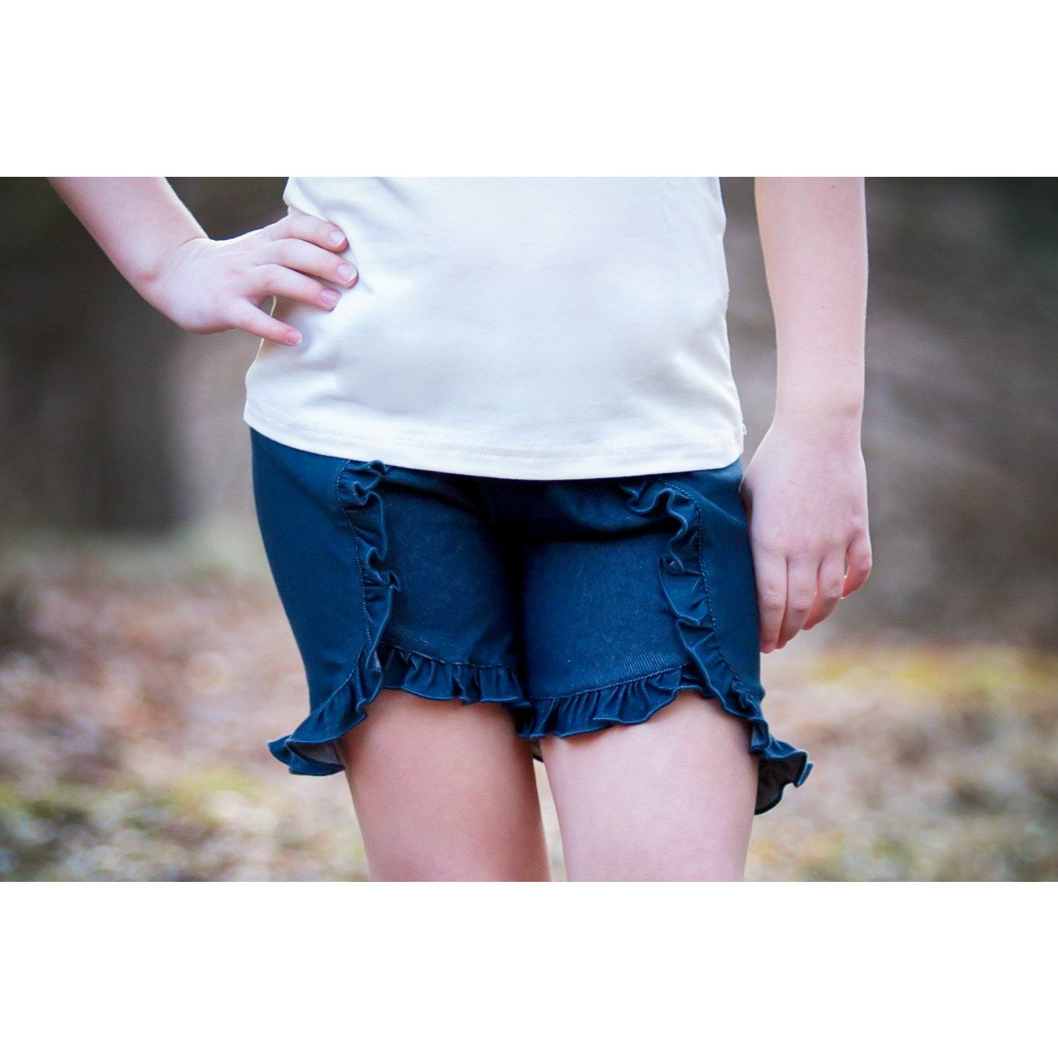 Flat Front Ruffled Denim Shorts - Adorable Essentials