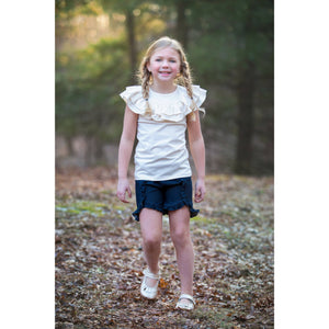 Flat Front Ruffled Denim Shorties 18m Only - Adorable Essentials