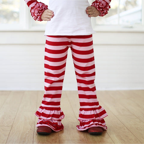 Valentine Stripes Triple Ruffle Pants PRESALE - Adorable Essentials, LLC