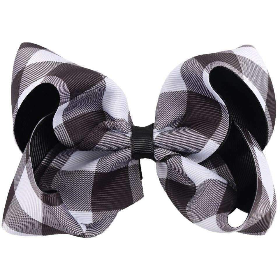"5"" Black & White Buffalo Plaid Bow - Adorable Essentials"