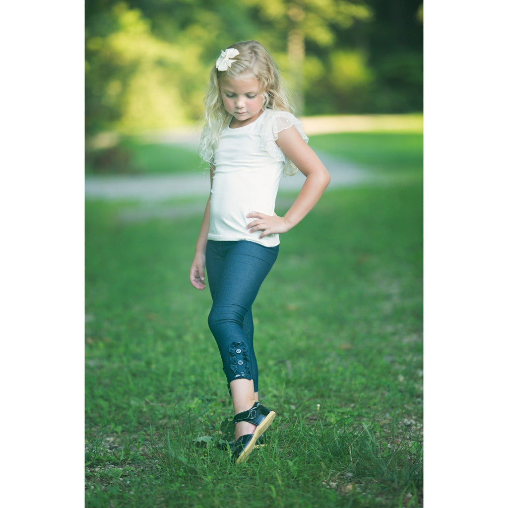 Adorable Essentials, Denim Button Ruffle Capris,Bottoms,Adorable Essentials,Adorable Essentials, LLC