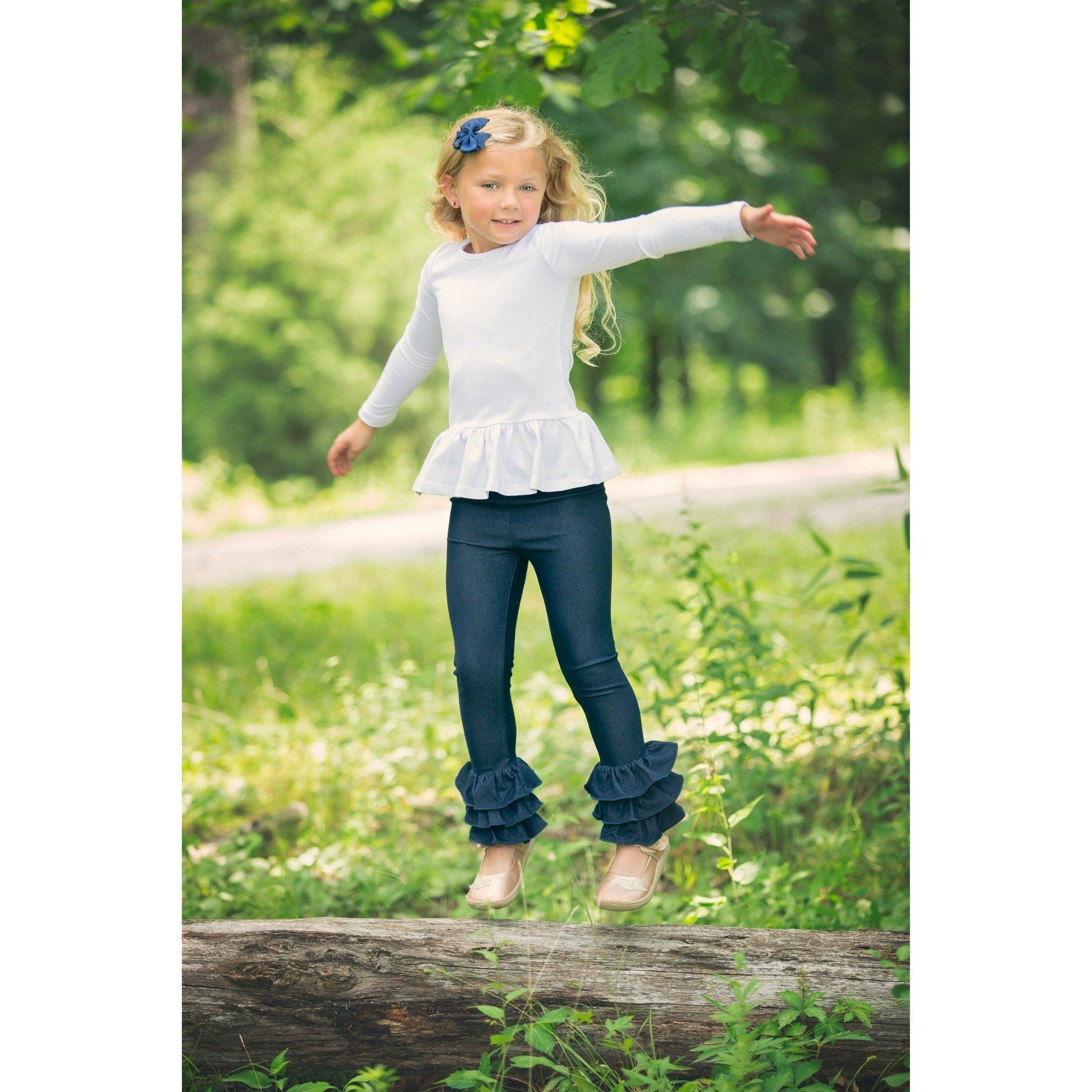 Adorable Essentials, Denim Triple Ruffle Pants--In Stock,Bottoms,Adorable Essentials, LLC