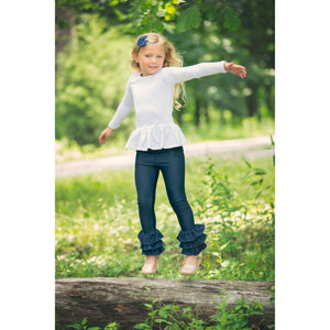 Denim Triple Ruffle Pants--In Stock - Adorable Essentials