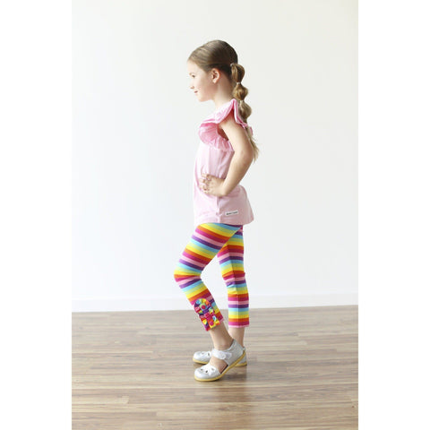 Adorable Essentials, Rainbow Button Ruffle Capris,Bottoms,Adorable Essentials,Adorable Essentials, LLC