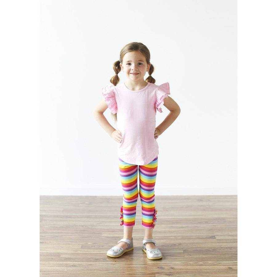 Adorable Essentials, Rainbow Button Ruffle Capris,Bottoms,Adorable Essentials, LLC