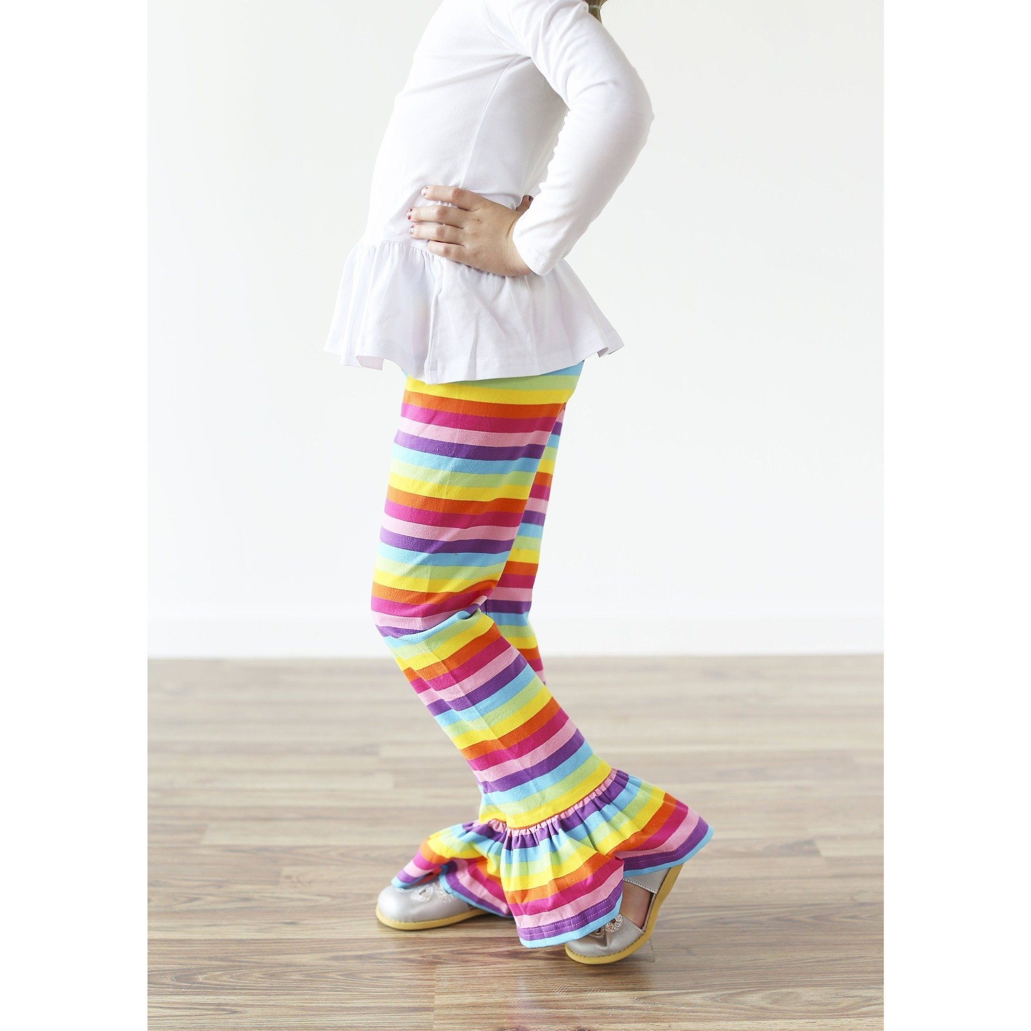 Adorable Essentials, Rainbow Single Ruffle Pants,Bottoms,Adorable Essentials, LLC