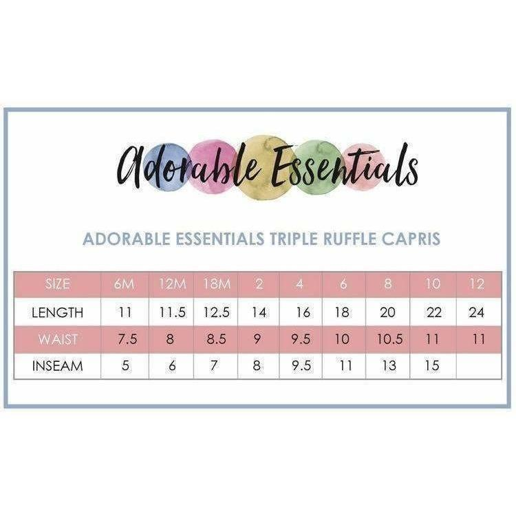 Adorable Essentials, Triple Ruffle Capri,Bottoms,Adorable Essentials, LLC