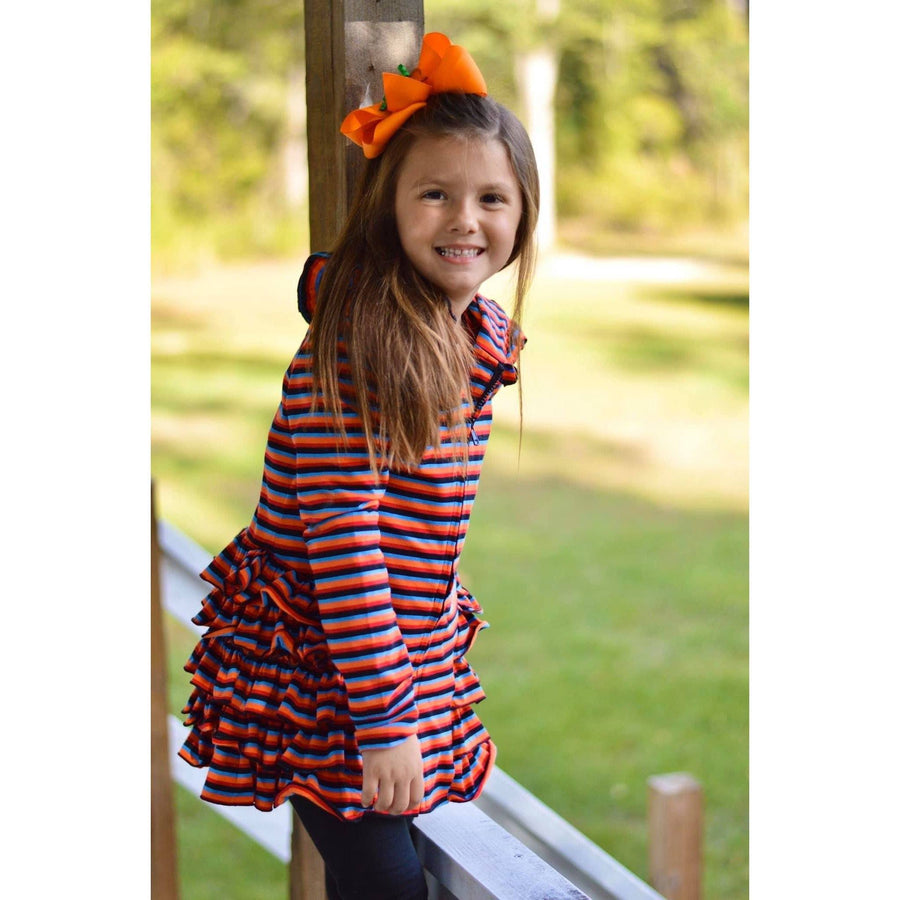 Adorable Essentials, Rainbow Zipper Ruffled Hoodie Cardigan,Tops,Adorable Essentials, LLC