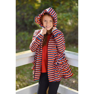 Rainbow Zipper Ruffled Hoodie Cardigan - Adorable Essentials, LLC