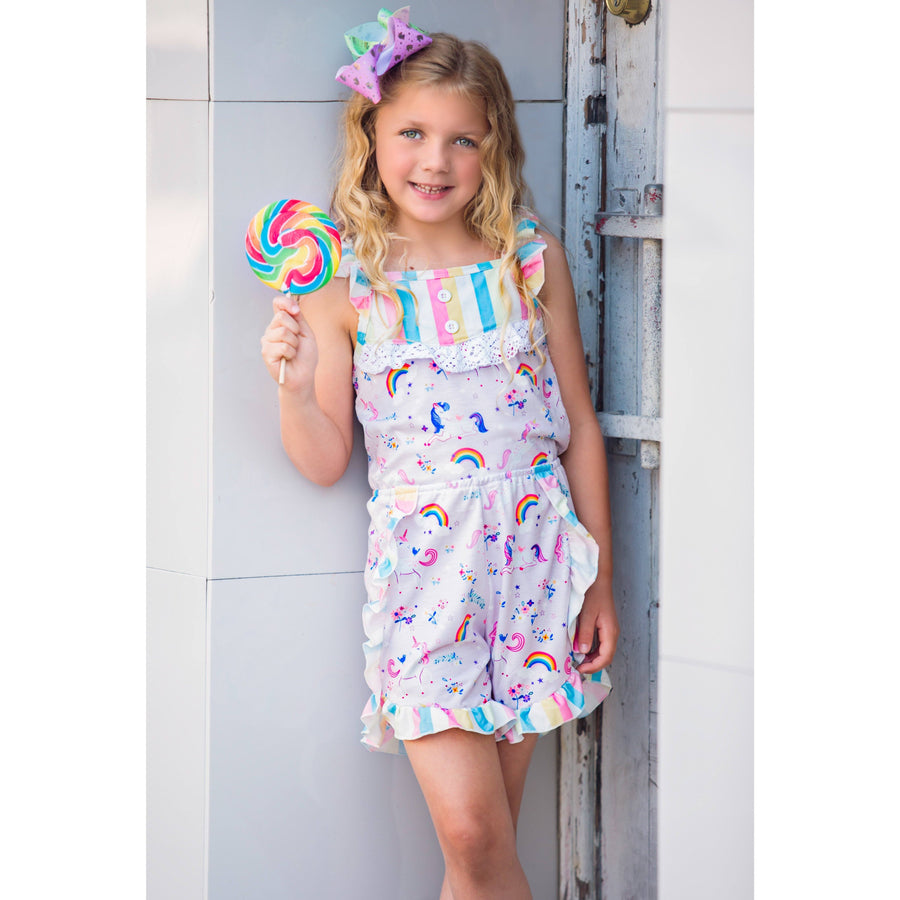 Adorable Essentials, Unicorns and Rainbows Romper,Dresses,Adorable Essentials, LLC