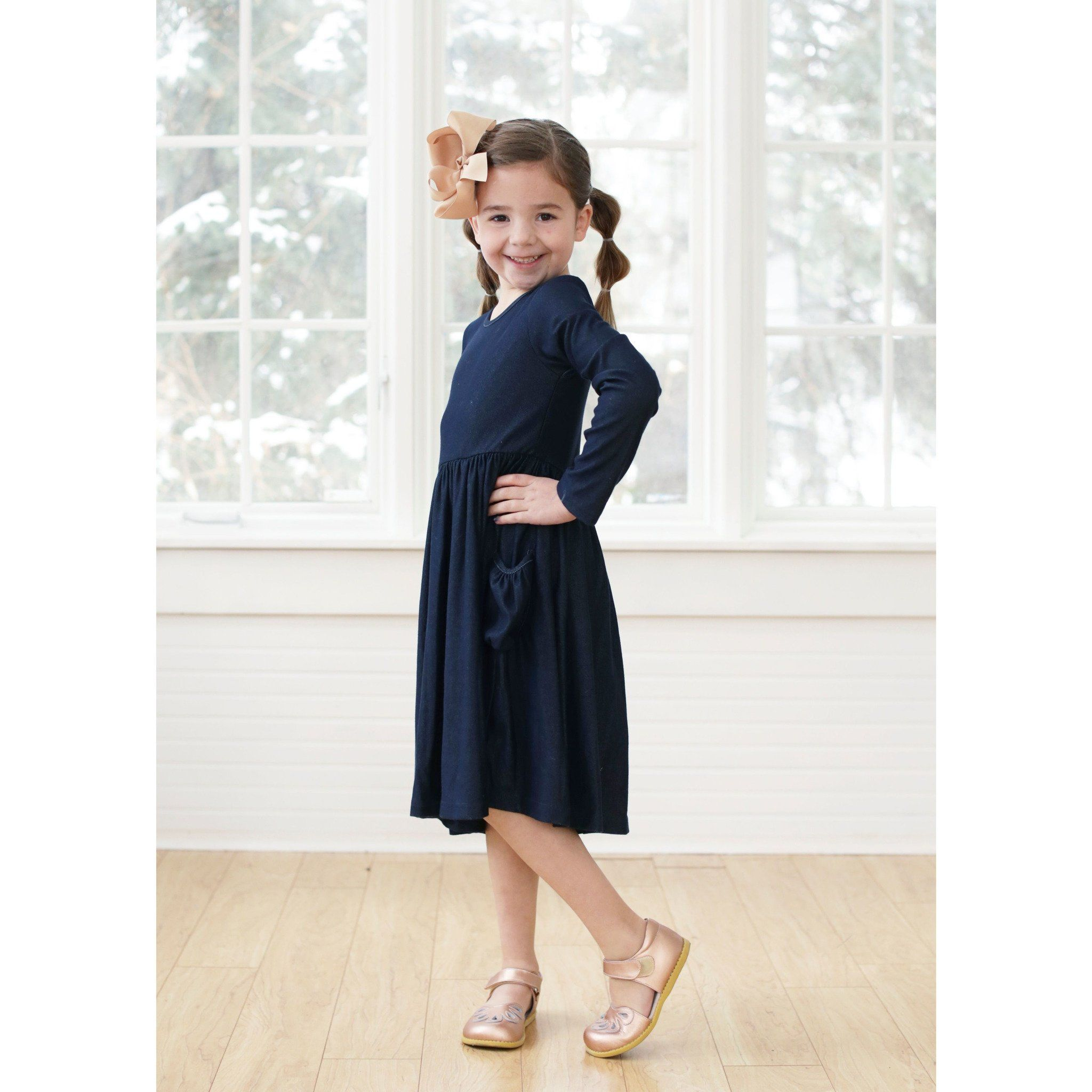 Denim Long Sleeve Bella Dress - Adorable Essentials