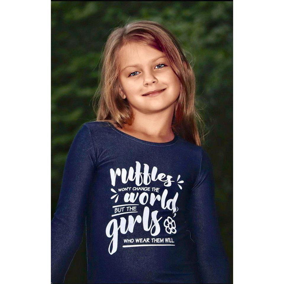 Adorable Essentials, Change the World Denim Ruffle Cuff Shirts,Tops,Adorable Essentials, LLC