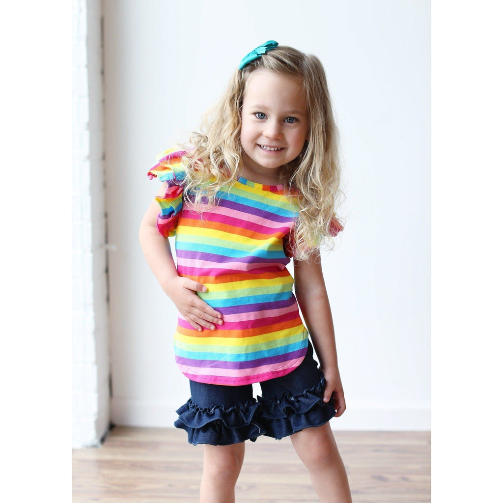Adorable Essentials, Denim Ruffle Shorties,shorts,Adorable Essentials,Adorable Essentials, LLC