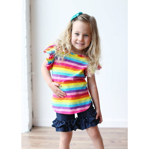 Adorable Essentials, Denim Ruffle Shorties,shorts,Adorable Essentials, LLC
