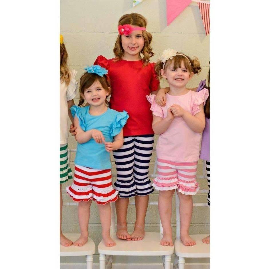 Adorable Essentials, Striped Ruffle Shorties - Tons of colors,shorts,Adorable Essentials,Adorable Essentials, LLC