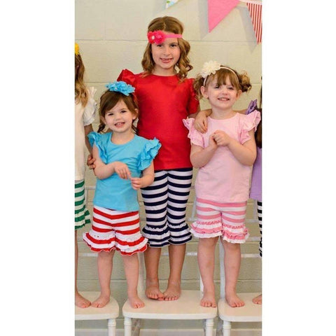 Adorable Essentials, Striped Ruffle Shorties - Tons of colors,shorts,Adorable Essentials, LLC